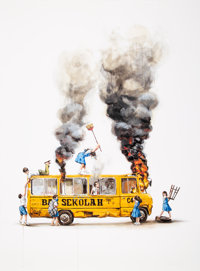 Ernest Zacharevic (Lb. 1986) Rage Against the Machine, 2018 Digital print with screenprint in colors