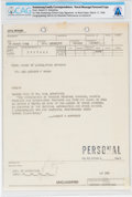 Explorers:Space Exploration, Gemini 8: Personal Naval Message to Armstrong from Hubert Humphrey Directly From The Armstrong Family Collection™, CAG Certif...