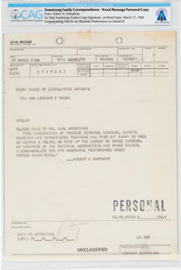 Gemini 8: Personal Naval Message to Armstrong from Hubert Humphrey Directly From The Armstrong Family Collection™, CAG C...