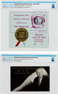 Explorers:Space Exploration, Gemini 8: Souvenirs from a 1966 Event in Wapakoneta Honoring Neil Armstrong Directly From The Armstrong Family Collection™, CA... (Total: 2 Items)