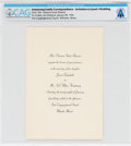 Explorers:Space Exploration, Neil & Janet Armstrong: Invitation to Their Wedding Directly From The Armstrong Family Collection™, CAG Certified....