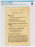 Explorers:Space Exploration, Gemini 8: Mission Prayer Vigil Personal Guide Directly From The Armstrong Family Collection™, CAG Certified....