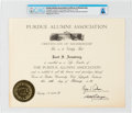 Explorers:Space Exploration, Purdue University: Janet Armstrong's Alumni Association Certificate of Membership Directly From The Armstrong Family Collectio...