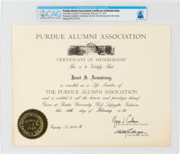 Purdue University: Janet Armstrong's Alumni Association Certificate of Membership Directly From The Armstrong Family Col...