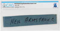 Neil Armstrong Handwritten Name Card Directly From The Armstrong Family Collection™, CAG Certified