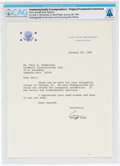 Explorers:Space Exploration, George H. W. Bush Original Vice-Presidential Letterhead Directly From The Armstrong Family Collection™, CAG Certified....