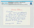 Explorers:Space Exploration, Mrs. John Glenn Original Note Card Directly From The Armstrong Family Collection™, CAG Certified....