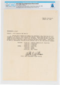 Explorers:Space Exploration, X-15: NASA High-Speed Flight Station Memorandum Directly From The Armstrong Family Collection™, CAG Certified....