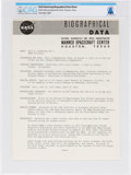 Explorers:Space Exploration, NASA Neil Armstrong Biographical Data Sheet Directly From The Armstrong Family Collection™, CAG Certified....