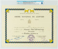 Explorers:Space Exploration, Neil Armstrong's Ordre National Du Leopard (National Order of the Leopard, Officer Rank) Certificate Presented by ...