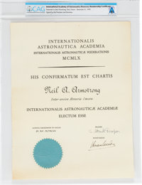 Neil Armstrong's International Academy of Astronautics Membership Certificate dated December 31, 1970, Directly Fr