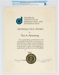 Explorers:Space Exploration, Neil Armstrong's AIAA Astronautics Award Certificate Dated 1966 Directly From The Armstrong Family Collection™, CAG Certif...