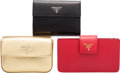 Luxury Accessories:Accessories, Prada Set of Three: Black, Red, & Gold Wallets. Condition: 1. See Extended Condition Report for Sizes.... ... (Total: 3 )