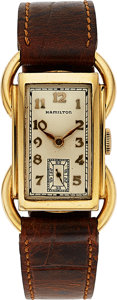 Timepieces:Wristwatch, Hamilton, Bentley, Rare Model, 14K Yellow Gold, Manual Wind, Circa1941. ...