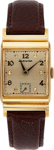 Timepieces:Wristwatch, Hamilton, Wesley, 14K Yellow Gold, Manual Wind, Circa 1946. ...