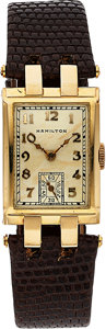 Timepieces:Wristwatch, Hamilton, Donavan, 14K Yellow Gold, Manual Wind, Rare Model, Circa 1937. ...