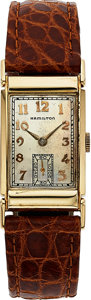 Timepieces:Wristwatch, Hamilton, Gilman, 14K Yellow Gold, Manual Wind, Rare Model...