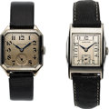 Timepieces:Wristwatch, Two Hamilton Wristwatches, Rare 10K White Gold Filled Merritt andEarly 14K White Gold Filled Square Plain, Circa 1923-1937