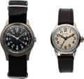 Timepieces:Wristwatch, Two Hamilton Military Wristwatches, WWII and Later GG-W-113, Silver and Stainless Steel, Manual Wind, Circa 1942-1981. ...
