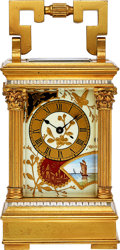 Timepieces:Clocks, French Decorative Enamel & Gilt Carriage Clock, circa 1915. ...