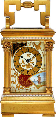 French Decorative Enamel & Gilt Carriage Clock, circa 1915