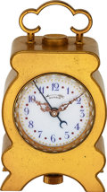 Timepieces:Clocks, Swiss Brass Minute Repeating Clock With Alarm, circa 1895. ...
