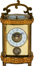 Timepieces:Clocks, French, Decorative Striking & Repeating Carriage Clock With Alarm, circa 1880. ...