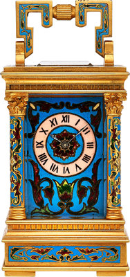 French Small Cloisonne Enameled Clock, circa 1890
