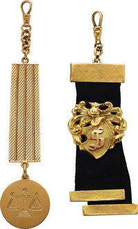 Two Heavy Gold Watch Fobs ... (Total: 2 Items)