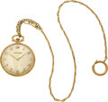 Timepieces:Pocket (post 1900), Tiffany & Co By Touchon, Platinum & Gold Watch, Gold Chain. ...