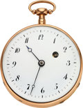 Timepieces:Pocket (pre 1900) , Swiss Gold Quarter Hour Repeater, Verge Fusee, circa 1840's. ...