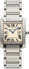 Timepieces:Wristwatch, Cartier, Steel Tank Francaise Wristwatch, Ref. 2465, Box & Papers. ... (Total: 0 Items)