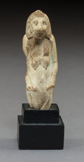 Carvings, An Egyptian Faience Tefnut Form Figurine, Ptolemaic Period. 4-3/8 x 1-1/2 x 1-1/2 inches (11.1 x 3.8 x 3.8 cm) (overall with...