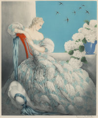 Louis Justin Laurent Icart (French/American, 1888-1950) Symphony in Blue, 1936 Etching in colors on wove paper 22-5/8