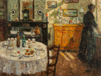 Jehan Frison (Belgian, 1882-1961) La Cuisine, 1908 Oil on canvas 17-3/4 x 23-1/2 inches (45.1 x 5
