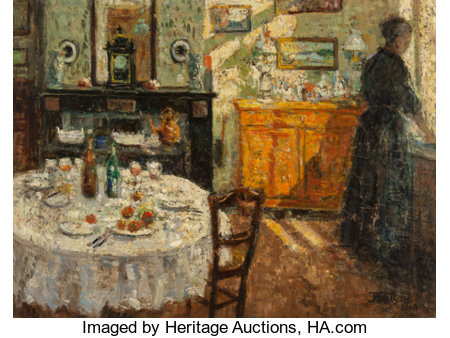 Jehan Frison (Belgian, 1882-1961) La Cuisine, 1908 Oil on canvas 17-3/4 x 23-1/2 inches (45.1 x 59.7 cm) Signed and ...
