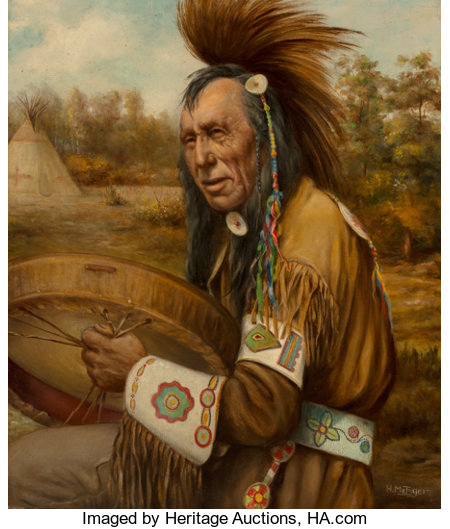 Henry Metzger (Canadian/French, 1876-1949)Siniah Piasis (Silver Bird) Cree IndianOil on canvas26 x 22 inches (66.0...