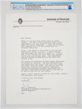 Explorers:Space Exploration, Neil Armstrong 1979 Typed Letter Signed Regarding His Late-1978Farm Accident, Directly From The Armstrong Family Collecti...