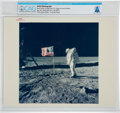 "Explorers:Space Exploration, Apollo 11: Original NASA ""Red Number"" Color Photo of Buzz Aldrin Facing the Flag on the Lunar Surface, July 20, 1969, Directly..."