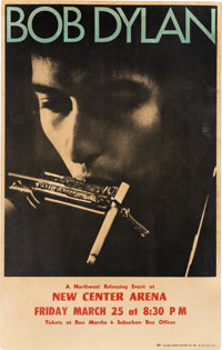 Bob Dylan 1966 Concert Poster w/The Hawks (The Band), Seattle, WA