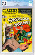 Golden Age (1938-1955):Adventure, Classics Illustrated #33 The Adventures of Sherlock Holmes HRN 89(Gilberton, 1951) CGC VF- 7.5 White pages....
