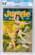 Golden Age (1938-1955):Adventure, Jungle Comics #57 (Fiction House, 1944) CGC VF 8.0 Off-white to white pages....