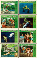 """Movie Posters:Horror, Creature from the Black Lagoon (Universal International, 1954). Fine/Very Fine. Lobby Card Set of 8 (11"""" X 14"""") with Autogra... (Total: 8 Items)"""