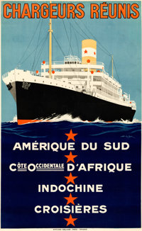 "Chargeurs Reunis (1930s). Very Fine- on Linen. French Travel Poster (23.25"" X 38"") Georges ""Sandy Hook&qu..."