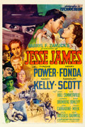 "Movie Posters:Western, Jesse James (20th Century Fox, 1939). Fine+ on Linen. One Sheet (27"" X 41"") Style B, Fredric C. Madan Artwork.. ..."