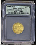 Italy:Papal States, Italy: Papal States. Sede Vacante Gold Zecchino 1774, Dove overarms/The Church seated on a cloud, Fr-242, KM1024, AU50 ICG....