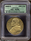 Italy:Papal States, Italy: Papal States. Pius IX Gold 100 Lire 1868R Year XXIII, Bustleft/Date and value in wreath, Fr-278, KM1383, AU58 ICG. A Very ...