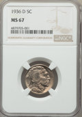 Buffalo Nickels: , 1936-D 5C MS67 NGC. NGC Census: (15/0). PCGS Population: (88/3).CDN: $850 Whsle. Bid for problem-free NGC/PCGS MS67. Minta...