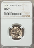 Buffalo Nickels, 1938-D/S 5C FS-511 MS67+ NGC. NGC Census: (1/1 and 1/0+). PCGS Population: (4/0 and 1/0+). MS67. Mintage 7,020,000. ...