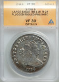 1798 $1 Large Eagle, Pointed 9, Close Date, B-28, BB-118, R.3, -- Plugged, Polished, Tooled -- ANACS. VF30 Details. VF30...